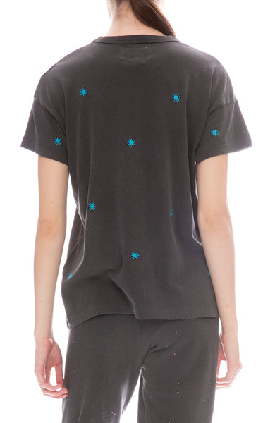 Embroidered Boxy Crew Neck T-Shirt