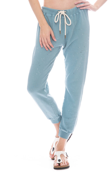The Great Cropped Sweatpants with Paint in Turquoise