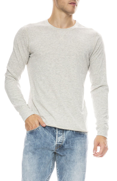 Billy Reid Henry Sweater in Grey Gold Stripe