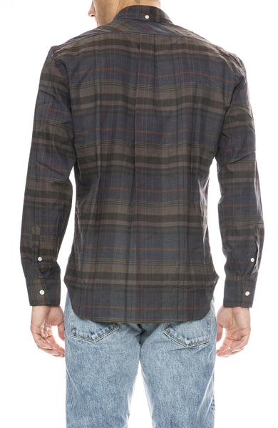 Billy Reid Tuscumbia Button Down Shirt in Charcoal Green Plaid