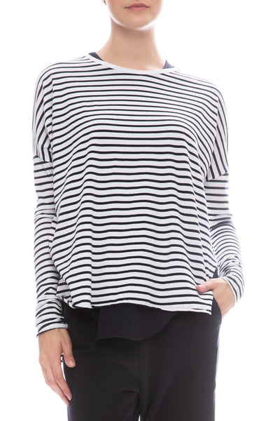 Frank & Eileen Tee Lab Stripe Jersey Long Sleeve T-Shirt in White / British Royal Navy