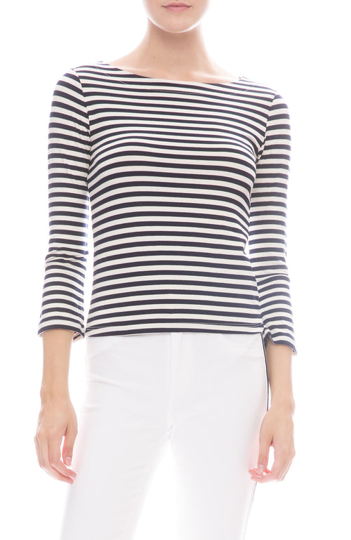L'Agence Lucy Boat Neck Shirt in Navy / Natural Stripe