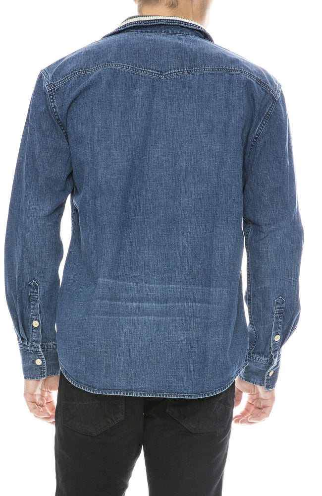 Remi Relief Mens Denim Shirt with Tape Detail Collar