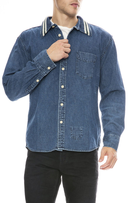 Stripe Collar Denim Shirt