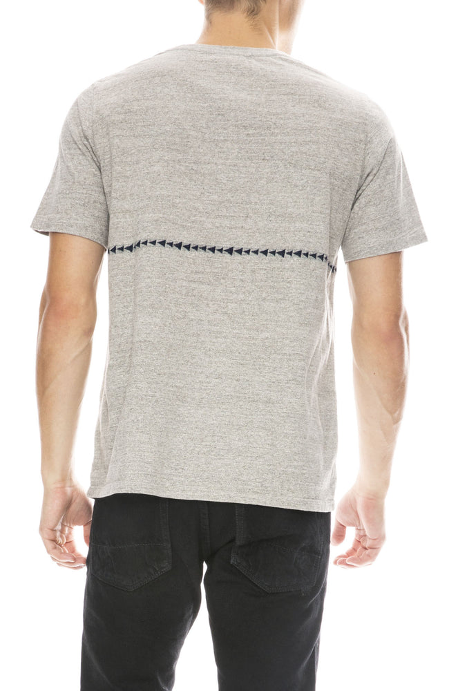 Remi Relief Mens Jacquard Stripe T-Shirt in Heather Grey