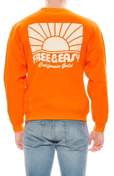 Free & Easy Mens Rays Crew Neck Sweatshirt in Bright Orange