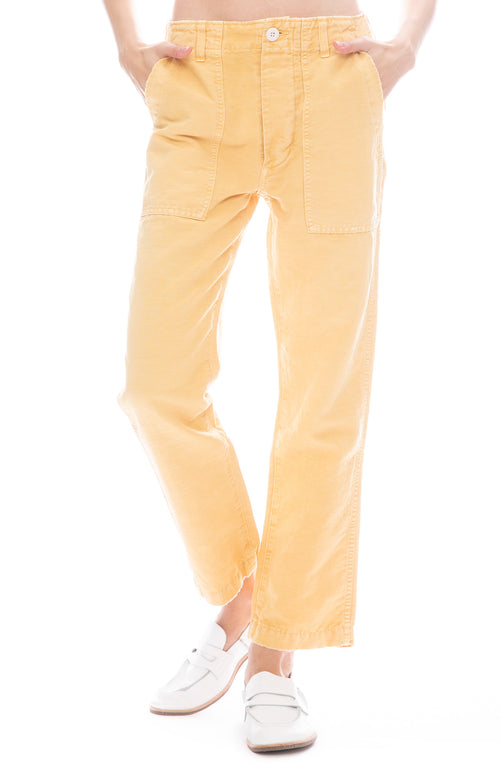 AMO Relaxed Straight Leg Army Pant in Sunflower Yellow