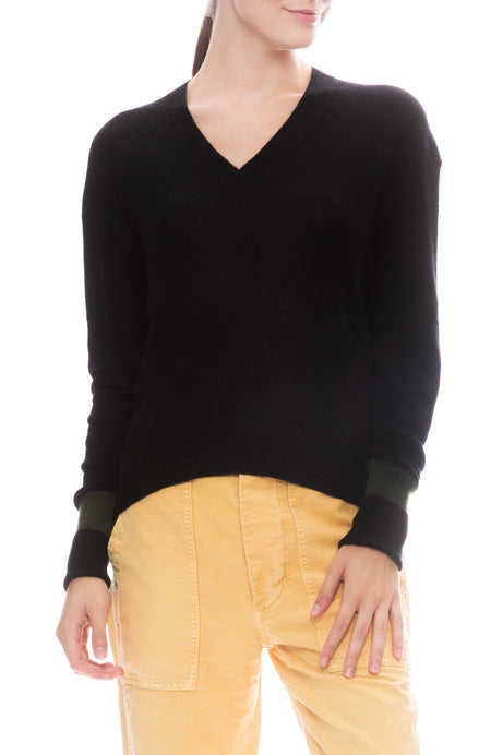 Two Tone Relaxed V Neck Sweater