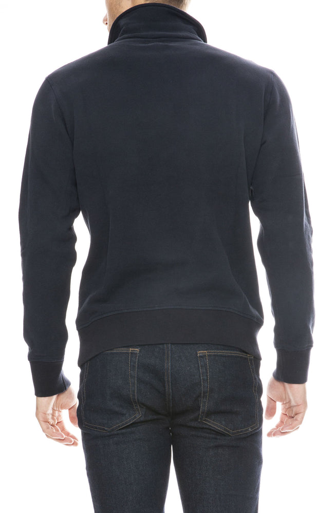 Hartford Polo Zipper Knit Sweatshirt in Dark Navy