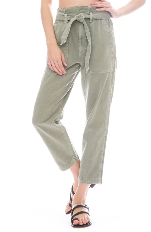 AMO Paper Bag Relaxed Pants in Surplus Green