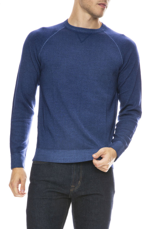 Hartford Merino Knit Pullover Sweater in Denim