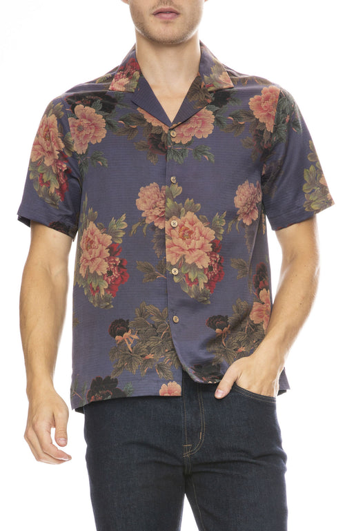 Ziran Mens Camp Collar Shirt in Blue Flowers