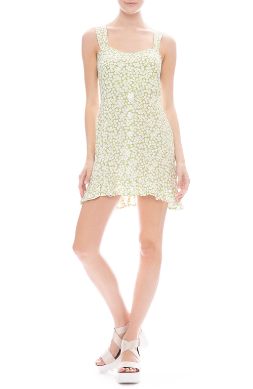Faithfull the Brand Lou Lou Mini Dress in Avocado