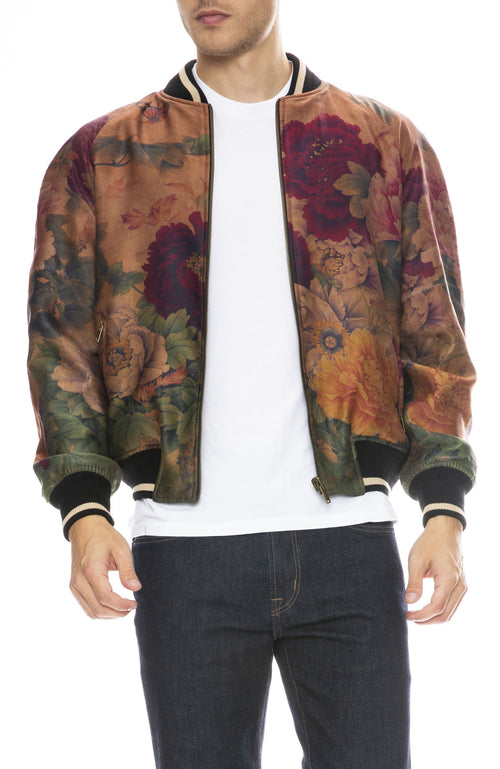 Ziran Reversible Bomber Jacket in Peony / Black