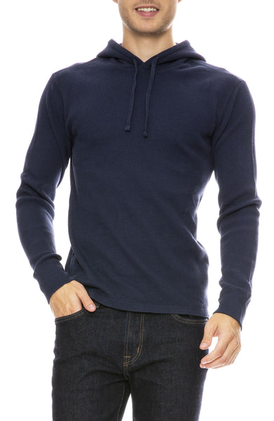 Alex Mill Waffle Pullover Hoodie in Navy