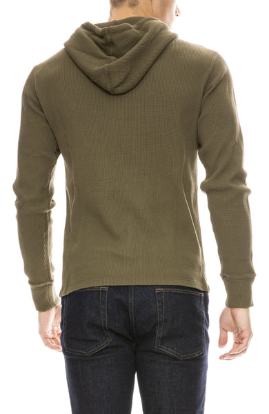 Alex Mill Waffle Pullover Hoodie in Deep Olive