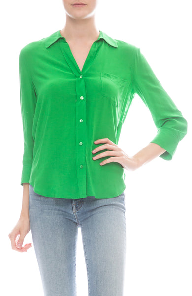 L'Agence Ryan Three Quarter Sleeve Blouse in Gloss Green