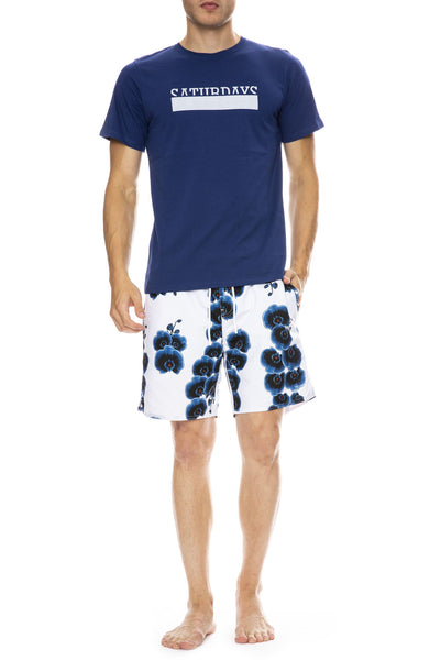 Saturdays Surf NYC Timothy Orchid Swim Short in White with Saturdays Bar Tee