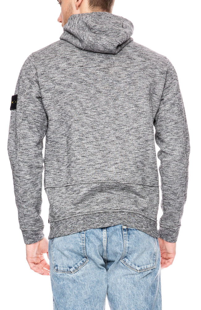 Stone Island Melange High Neck Pullover Hoodie in Steel Grey at Ron Herman
