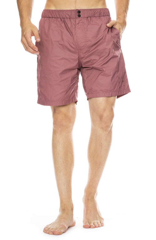 Saturdays NYC Trent All-Purpose Grid Swim Shorts in Light Plum