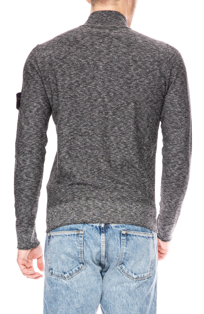 Stone Island Slub Wool Henley Sweater in Black at Ron Herman