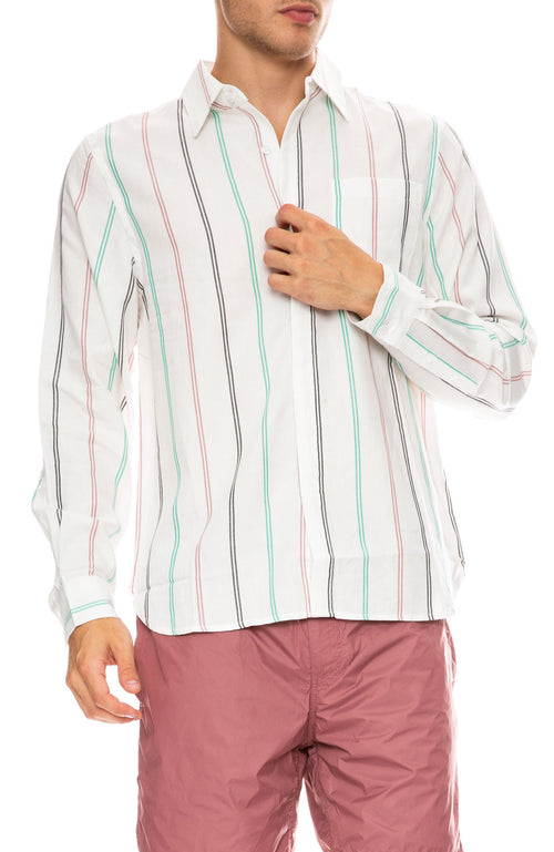 Saturdays Surf NYC Mickey Tencel Stripe Long Sleeve Shirt