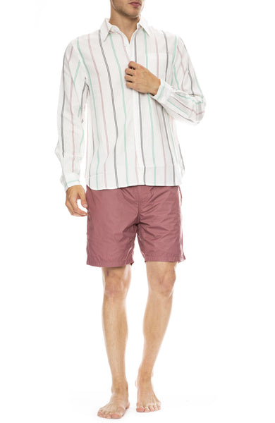 Saturdays Surf NYC Mickey Tencel Stripe Long Sleeve Shirt with Trent Swim Shorts in Light Plum