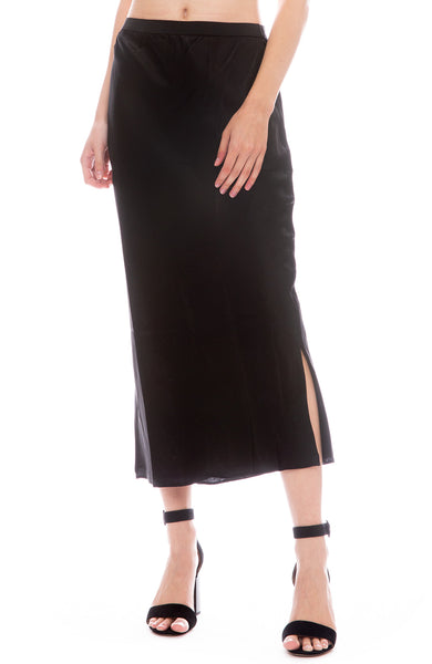 Cami Jessica Silk Midi Skirt in Black