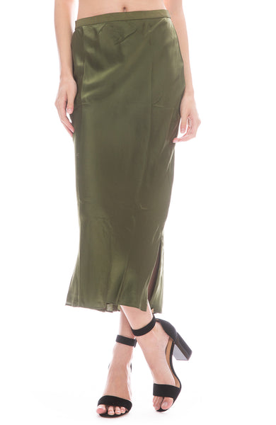Cami Jessica Silk Midi Skirt in Cactus Green