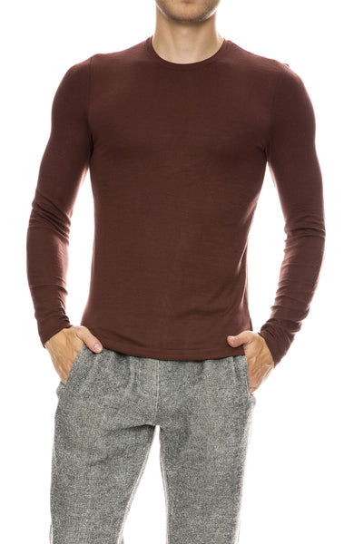 ATM Mens Modal Rib Long Sleeve Crew Neck Top in Wine