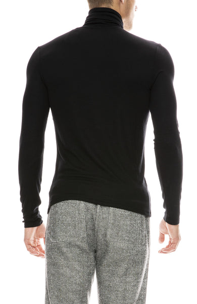 ATM Mens Micro Modal Rib Turtleneck in Black
