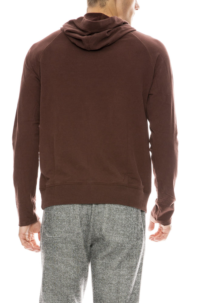ATM Mens Brushed Fleece Pullover Hoodie in Wine