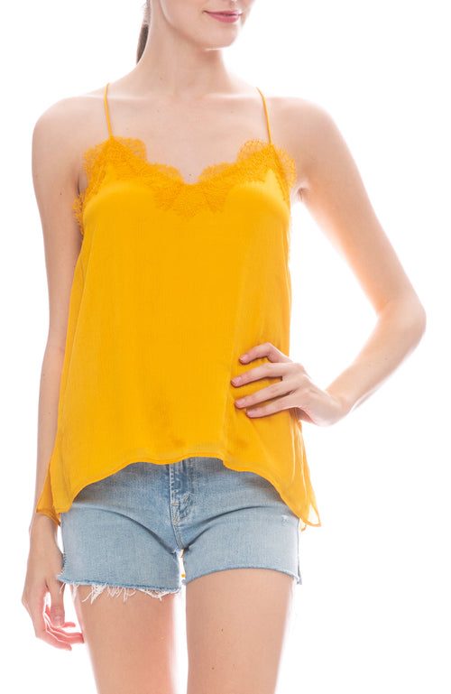 Cami Racer Crinkle Camisole in Honey Yellow