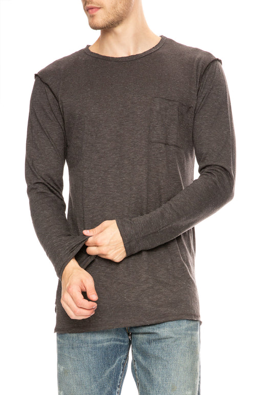 Twenty Montreal Brooks Long Sleeve Slub T-Shirt in Charcoal at Ron Herman