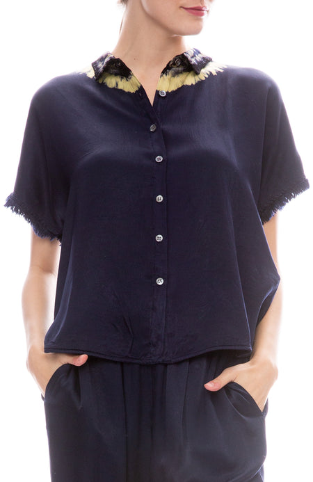 Fray Sleeve Little Button Up Blouse
