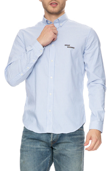The Goodpeople Stay Weird Oxford Blue and White Stripe Shirt at Ron Herman