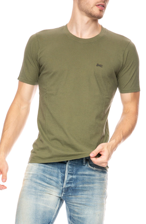 Denham Crew Neck T-Shirt in 1000 Year Green at Ron Herman
