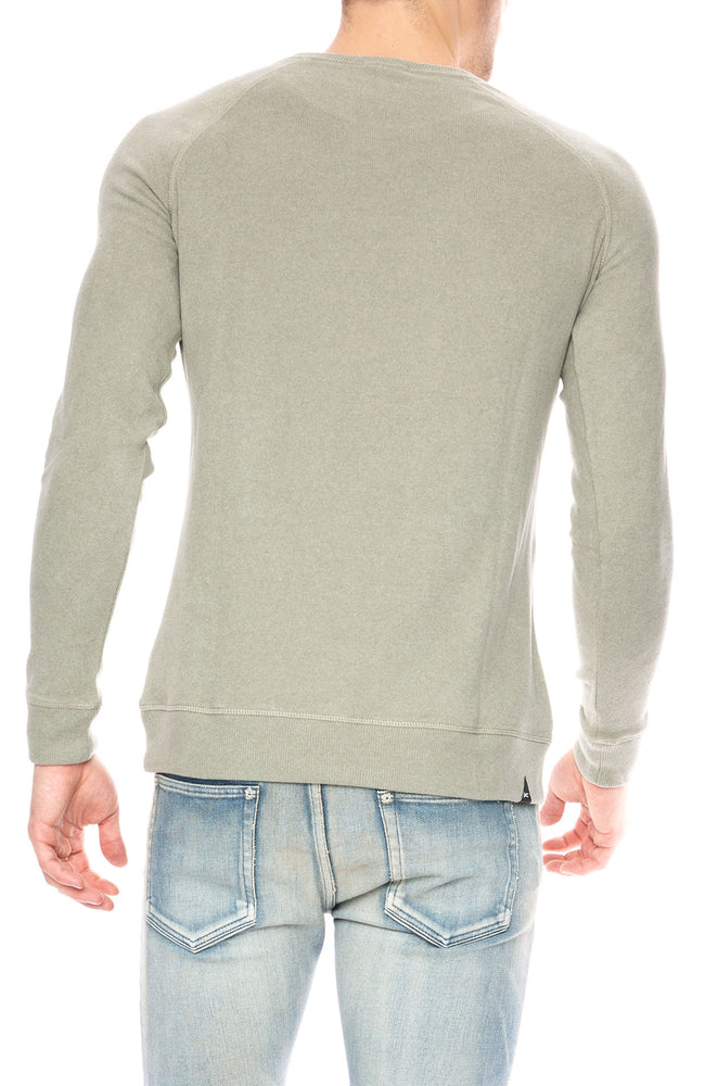 Denham Raglan Crew Sweatshirt in 1000 Year Green at Ron Herman
