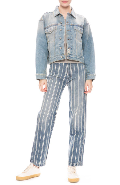 Boyish Womens Harvey Denim Jacket in Napoleon Wash with Kirby Pinstripe Jeans
