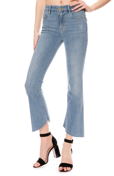 Frame Womens Le Crop Mini Boot Kick-Flare Jeans in Fox Wash