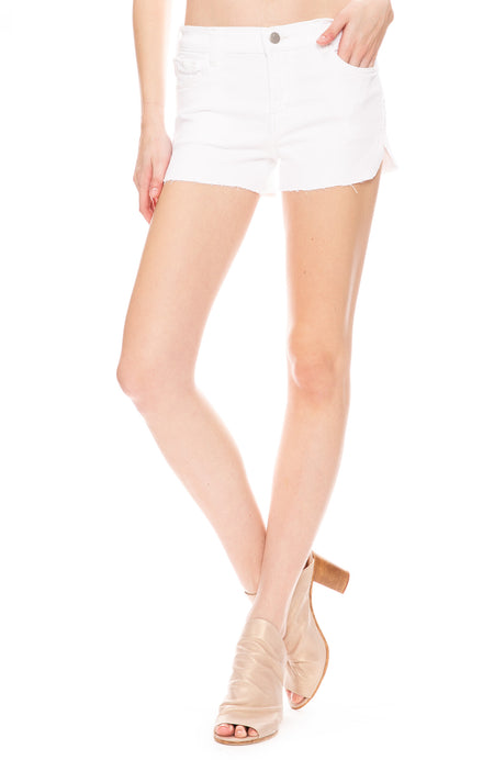 Mid Rise Denim Shorts in Blanc