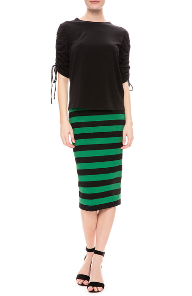 Veronica Beard Natalia Ruched Sleeve Top in Black with Baker Stripe Skirt