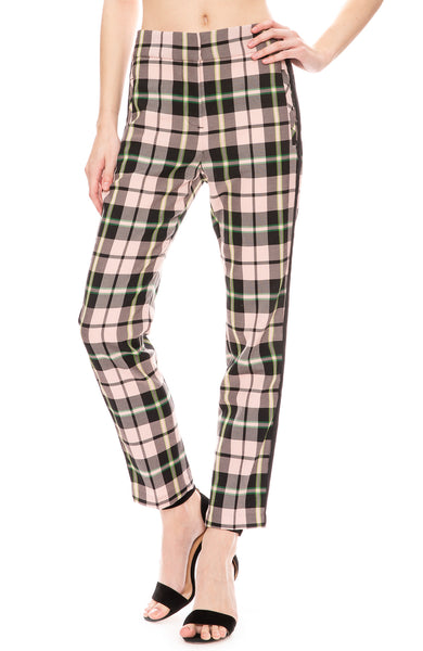 Veronica Beard Irving Pink Plaid Trouser Pants