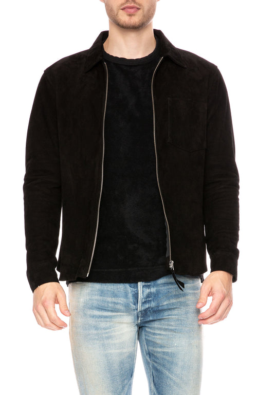 Our Legacy Suede Zip Shirt in Black at Ron Herman