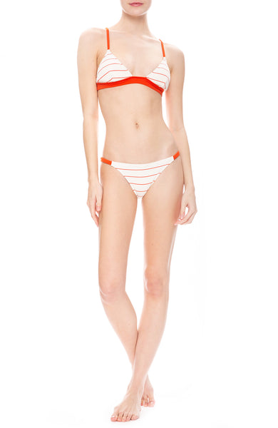 Solid & Striped Morgan Ribbed White and Hot Lava Red Pinstripe Bikini Top and Bottoms