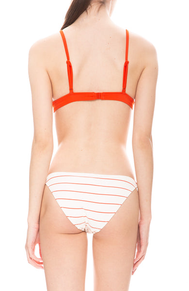 Solid & Striped Morgan Ribbed White and Hot Lava Red Pinstripe Bikini Top