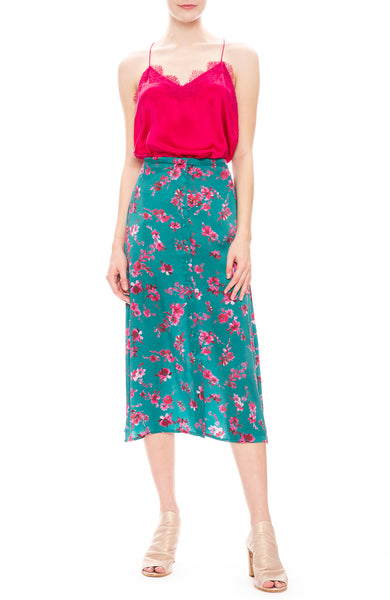 Cami Racer Lace Camisole in Dacquiri with Annabelle Floral Lagoon Midi Skirt