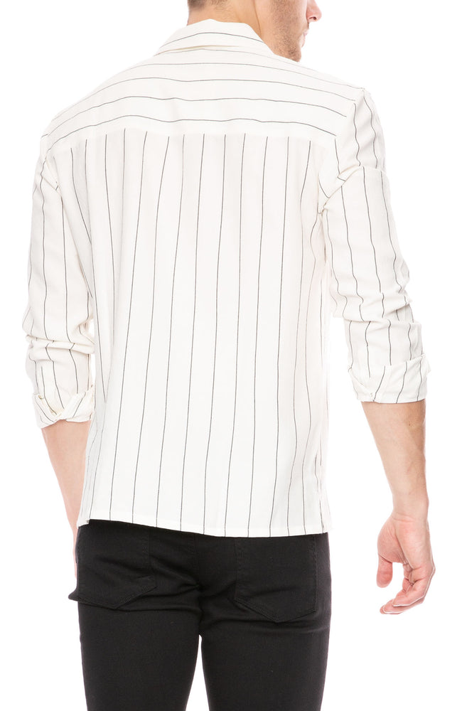 AMI Wide Stripe Over Shirt with Shark Collar at Ron Herman
