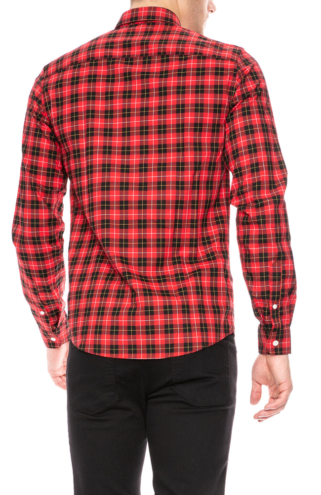 AMI Black and Red Plaid Button Down Shirt at Ron Herman