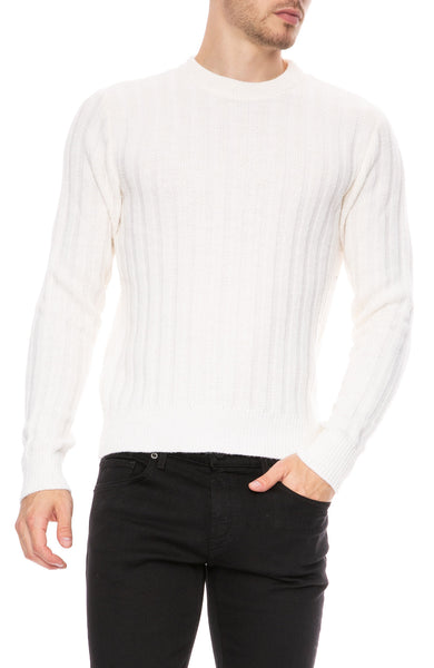 AMI Alpaca Mix Crew Neck Sweater in White at Ron Herman